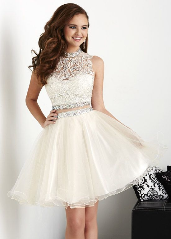 White Homecoming Dresses, Ball Gowns, Short Corset Prom Dress, Lace ...