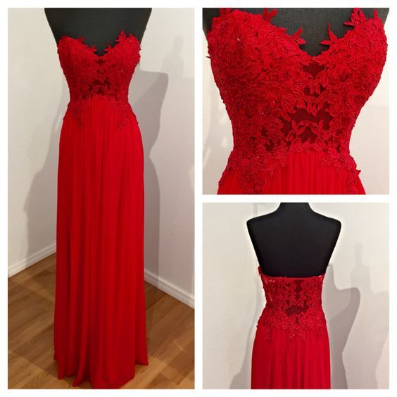 Red Prom Dress,chiffion Prom Dress,lace Prom Dress,long Prom Dress ...
