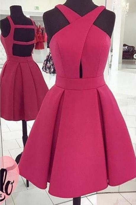 Uhc0055, A Line, Short, Mini, Pleats, Crossed Neck, Sleeveless, Homecoming Dresses, Party Dresses, Graduation Dresses, Prom Dresses