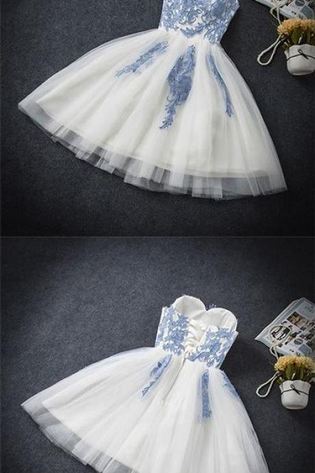 Uhc0085, Sweetheart, A-line, white, lace, short prom dress, homecoming dresses