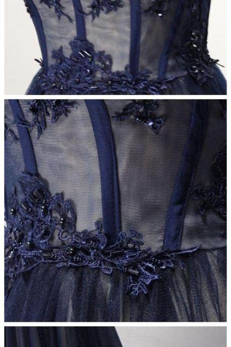 Upd0275, A-LINE, STRAPLESS, DARK NAVY, TULLE, SIMPLE PROM DRESS, EVENING DRESS
