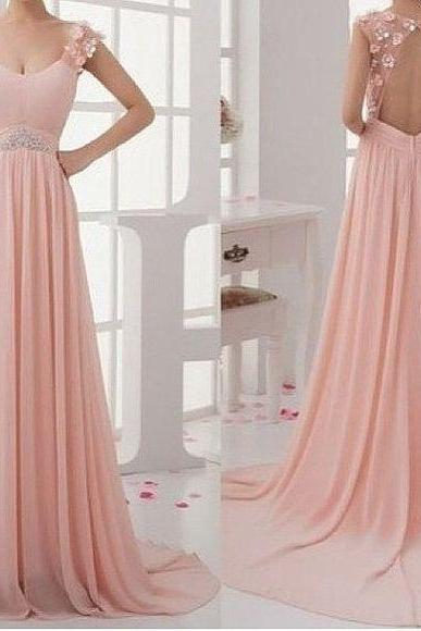 Pink prom dress, backless prom dress, pretty prom dress, long prom dress