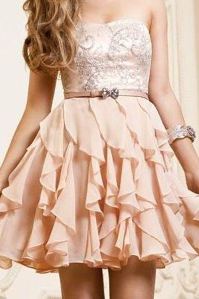 Chiffon Short Prom Dresses, Sweetheart , Cute Homecaming Dresses, With Straps Country Homecaming Dress