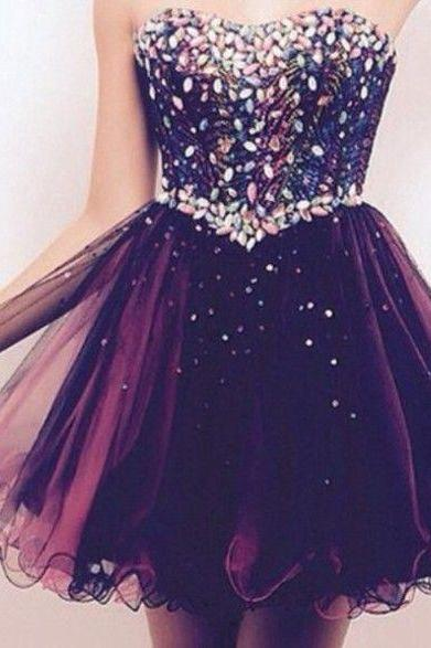 Colorful Beading, Tulle Homecoming Dresses, A-Line Graduation Dresses, Homecoming Dress, Short Mini Homecoming Dress