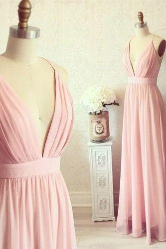 Pink Prom Dress, A-line Chiffon Prom, High V-Neck Prom dresses, open Back Prom dress