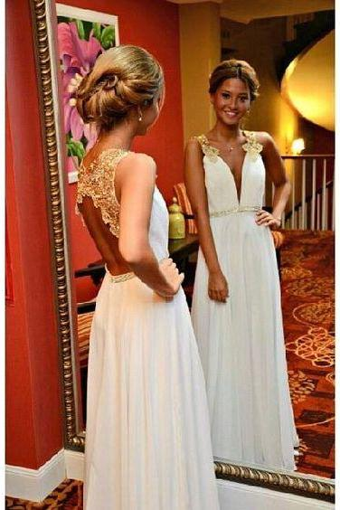 Upd0106, deep-V prom dresses, A-line prom dresses, open back prom dresses, charming prom dresses, bridesmaid dress