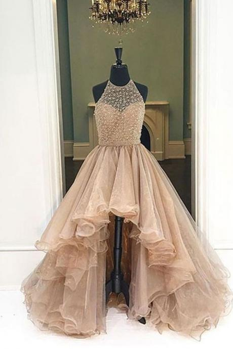 Upd0109, Champagne, organza, halter, high low, A-line, long dress, foemal dresses, for teens prom dresses