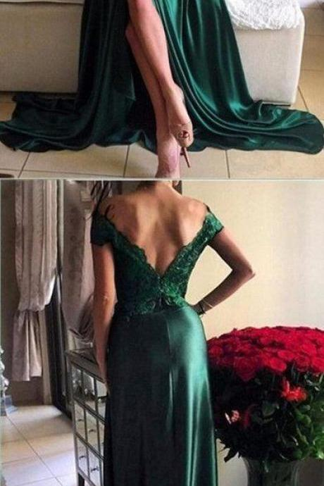 Upd0142, Off Shoulder, Green Lace, Evening Prom Dresses, 2017 Long Slit Prom Dress, Custom Long Prom Dresses, Cheap Formal Prom Dresses