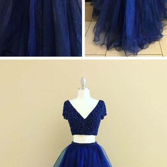 UPD0327, two piece royal blue long prom dress homecoming dress formal evening dress