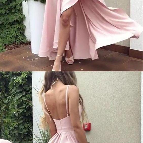 UPD0330, Simple Prom Dress,Bridesmaid Dress, pink, Spaghetti, high low, satin, long prom dresses.