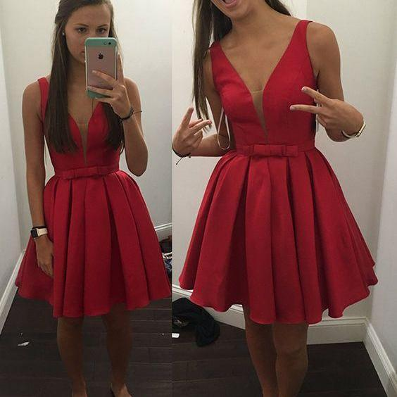 Charming Red Satin Prom Dress, Homecoming Dress, Short Homecoming Dresses