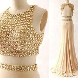 Charming Real Made Beading Prom Dresses, Evening Gowns, two pieces, Open back Evening Dress