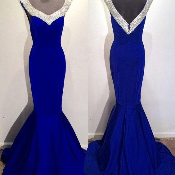 Mermaid Prom Gown,Royal Blue Prom Dresses,Royal Blue Evening Gowns,Beaded Party dresses